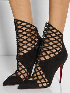 Black Sandal Booties Pointed Toe Stiletto Heel Cut Out Women's Ankle Boots - Milanoo.com Next Shoes, Women's Shoes, Fall Shoes, Dance Shoes, Summer Boots, Outfit Summer, Boating Outfit, Bootie Sandals, Buy Shoes Online