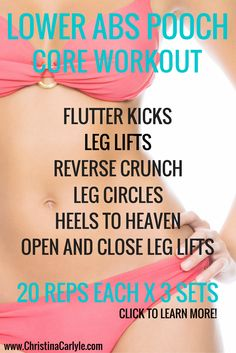 Does your belly pooch both you? Learn how to exercise your lower abs and get a Lower Ab Workout for women from Trainer Christina Carlyle. Pooch Workout, 6 Pack Abs Workout, Abs Workout For Women, Belly Fat Workout, Belly Workouts, Tummy Exercises, Tummy Workout, Workout List, Workout Men