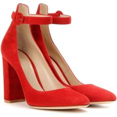 Gianvito Rossi Greta Suede Pumps ($740) ❤ liked on Polyvore featuring shoes, pumps, heels, gianvito rossi, red, heel pump, red shoes, suede leather shoes, suede shoes and red heel shoes