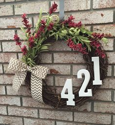 Address Grapevine Wreath with Red Flower Details and a Chevron Bow - Spring Wreath - Summer Wreath - Initial Wreath - Front Door Wreath