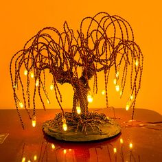 Illuminating small standing wire tree by Wiretrees1 on Etsy