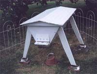 A Modified Kenyan Top Bar Hive (KTBH), the CalKenyan (Kenyan hive adapted for California).