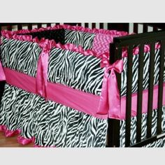 Zebra baby crib bedding Custom Zebra Crib Bedding Set (like NEW)  4-Piece Includes -Bumper -Fitted Crib Sheet (fpink) -Matching Blanket -Matching Crib Skirt  Great Condition, jst has one small stain but could be washed no rips or tears, no fading. VERY SOFT! Accessories