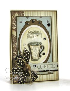 Coffee card by Christyne Kane using the new Coffee set and coordinating Cuppa Joe Die Set from Verve (releasing 8/30/14). #vervestamps