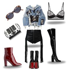 Any boot will do !! #Issaslaaay by issaslaay on Polyvore featuring polyvore, BLK DNM, Diesel, L.K.Bennett, Vetements, Laurence Dacade, Paula Cademartori, Oliver Peoples, fashion, style and clothing #streetstyle #stylish #fashionset #fashion #streetwear #fall #booties #blackandred #black #red #jeanjacket #jean #jacket #leather #bralet #ysl #grunge #glasses #kneehighs