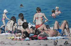 Christian ARNOULD - Sur la plage - Peinture - acrylique sur toile