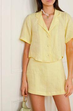 Mellow Yellow, Pastel Yellow, Yellow Top, Yellow Flowers, Estilo Kardashian, Faithfull The Brand, Branded Shirts, Aesthetic Clothes, Lounge Wear