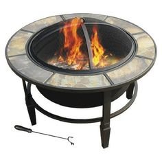 leisurelife™ 33' Terni, Round Slate Top Fire Pit -- Check out this great product. (This is an affiliate link) #FireplacesandAccessories