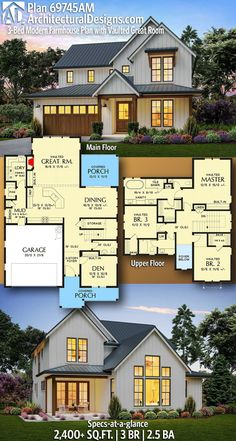 Architectural Designs Modern Farmhouse Plan gives you 3 bedrooms, baths and sq. Plan Modern Farmhouse Plan with Vaulted Modern Farmhouse Plans, Farmhouse Homes, Farmhouse Bedrooms, Modern Home Plans, Dream House Plans, House Floor Plans, Floor Plans 2 Story, Two Story House Plans, Board And Batten Exterior