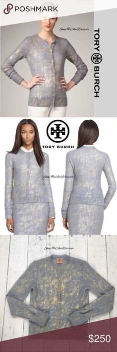 """Tory Burch blue/gray gold shimmer cardigan Stunning rare blue/gray Tory Burch cardigan sweater w/ gold metallic splatter design & gold Tory Burch engraved buttons. Lighter weight, somewhat semi sheer. Excellent condition, smoke free home. Listing is for cardigan only. Approx 22.5"""" long from high shoulder to hem, 18"""" across bust. Will look lighter on with light/nude cami under. Retailed for $370. Please read my bio regarding closet policies prior to any inquiries. Tory Burch Sweaters…"""