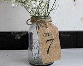 burlap table number . rustic table number . white by MontanaSnow