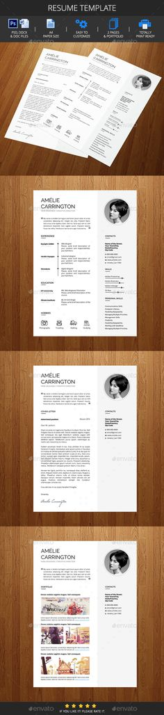 Resume Template / CV Template - Resumes Design Template PSD. Download here: https://graphicriver.net/item/resume-template-cv-template/16882717?s_rank=62&ref=yinkira
