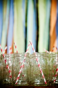 mason jars and paper straws.