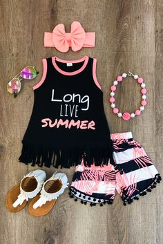 """Long Live Summer"" Pom Pom Short Set"