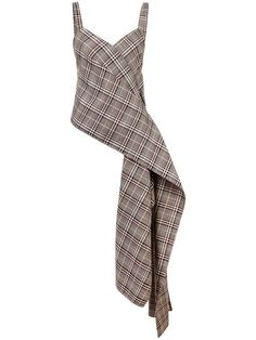 Grey wool blend plaid side drape top from Monse featuring an asymmetric hem, spaghetti straps and a v-neck. Look Fashion, Fashion Outfits, Womens Fashion, Fashion Design, Fashion Trends, Fashion Sets, Fashion Details, Looks Style, My Style