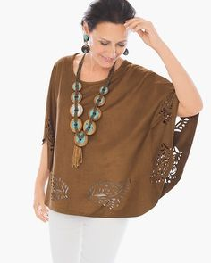 I like the cutouts, the color, and the suede of this. I would like it better if it were a blouse rather than a poncho. Chico's Esme Poncho