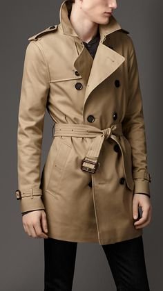 Cotton blend trench coat in fallow by Burberry