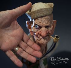 printing aids film makeup legend Rick Baker in rendering a highly realistic, printed Popeye statuette with his MakerBot Replicator Easy Clay Sculptures, Sculpture Clay, Ceramic Sculptures, Polymer Clay Dolls, 3d Prints, Stop Motion, Clay Projects, Clay Art, Wood Carving