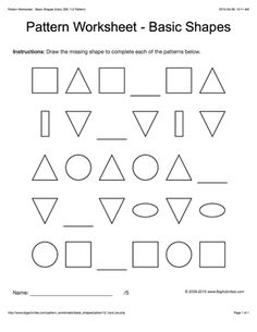 pattern worksheets for kids colored basic shapes 1 1 2 pattern draw and color the two. Black Bedroom Furniture Sets. Home Design Ideas