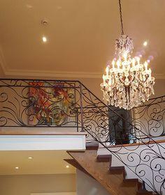 Original artwork by Carole Arnston from Crescent Hill Gallery in client's home Original Artwork, Chandelier, Ceiling Lights, The Originals, Lighting, Gallery, Home Decor, Homemade Home Decor, Candelabra
