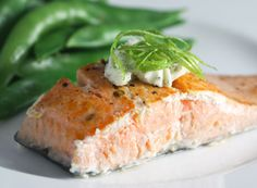 Dill is a wonderful complement to salmon. Today for lunch, I grilled up a salmon fillet, and served it with butter infused with dill.