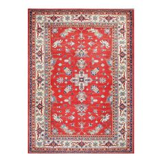 Herat Oriental Afghan Hand-knotted Tribal Vegetable Dye Super Kazak Red/ Ivory…