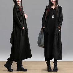 Find More   Information about High Quality Plus Size Linen Dress Loose Waist Long Sleeve Winter Dress Ankle Length Big Bottom With Pockets Casual Style Black,High Quality  ,China   Suppliers, Cheap   from Be 2 Boutique  on Aliexpress.com