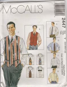 Mens Lined Vest Pattern Shirt Tie and Bow Tie Mens 34 - 44 S M L Uncut McCalls 2447 by PrettyfulPatterns on Etsy