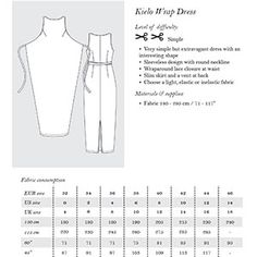 The Kielo Wrap Dress is a very simple but extravagant dress with an interesting shape. It features a sleeveless design with a round neckline, wrap lace closure at the waist and a slim skirt with a vent in the back.  Pattern is very versatile, allowing for a shortened version as shown and an additional sleeve pattern contained in the file.  You can view a tutorial on using the sleeve pattern