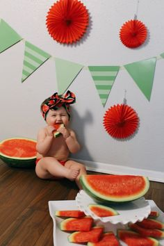 Now that all of the birthday party invitations are sent and received, I can finally share Penelope's watermelon photos! Her party theme is going to be ONE in a Melon! We have some cute wate… Picnic Birthday, Birthday Diy, Birthday Chair, Sofia The First Birthday Party, Girl First Birthday, Birthday Party Invitations, Birthday Party Themes, Birthday Ideas, Watermelon Birthday Parties