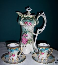R.S. Prussia - Chocolate pot with matching cups/saucers