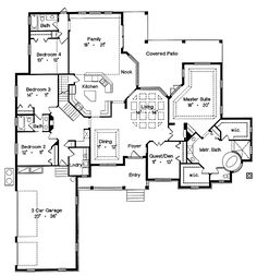 remove bedroom 4 and extra family room and expand kitchen home floor planshouse - Family Room Floor Plan