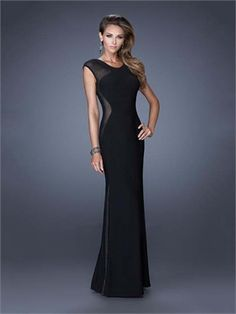 Sexy Open Back Sheer Cap Sleeves Black Chiffon Prom Dress PD2919