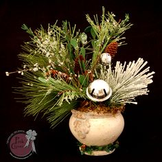 """White Christmas & Silver Bells Floral Arrangement by """"Pink Clover Wreath Company"""""""