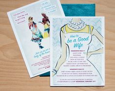 50's Themed Bridal Shower Invites #madmen/ HEY ALEX. You need to learn how to be a good wife.