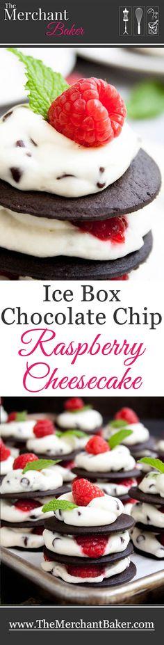 Ice Box Raspberry Chocolate Chip Cheesecake