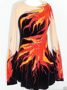 would love this for interpretive Baton Twirling Costumes, Girls Dance Costumes, Dance Outfits, Cute Outfits, Fire Costume, Phoenix Costume, Figure Skating Costumes, Ballroom Dance Dresses, Figure Skating Dresses