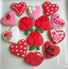 Valentine's Day Mini sugar cookies bite by SweetArtSugarCookies
