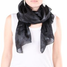 Black and grey silk scarf /magnificent black head by CeliaEtcetera