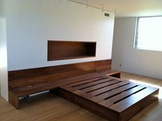 Modern walnut bed platform and integrated furniture by Greg Goodman, via Behance Walnut Bedroom Furniture, Farmhouse Furniture, Bed Furniture, Home Decor Furniture, Furniture Design, Furniture Ideas, Bed Frame Design, Bedroom Bed Design, Home Decor Bedroom