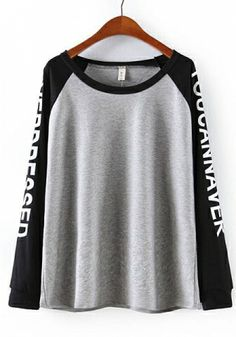 Black Cotton Blends Round Neck Long Sleeve Letters Tops