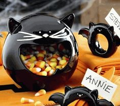 Halloween Black Cat Treat Bowl