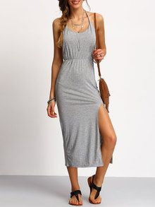 7c8e8f6a3bc Grey Halter Backless Split Dress Shein Dress