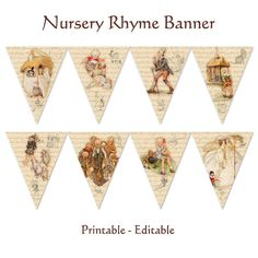 Nursery Rhyme Story Book Banner by hedgehogstudio on Etsy, $5.00