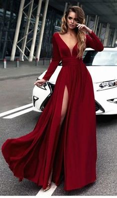 Burgundy Satin Deep V-neck Slit Prom Dress with Long Sleeves Prom Dress V-neck, Long Sleeves Prom Dress, V Neck Prom Dress, Burgundy Prom Dress, Prom Dress Prom Dresses 2019 Prom Dresses Long With Sleeves, Prom Dresses With Sleeves, Sexy Dresses, Nice Dresses, Party Dresses, Dress Long, Long Dresses, Long Sleeve Formal Dress, Red Dress Prom