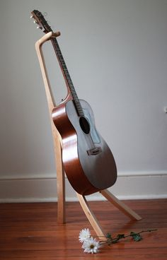 Sculptural Maple Guitar Stand by MartellWoodworks on Etsy