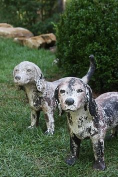 "Garden ""Guard Dogs""...from France...Pierre & Bernadette. - My parents always believed dogs belonged in the garden."