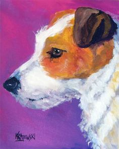 Jack Russell Terrier Art Print of Original Acrylic by dogartstudio