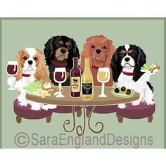 Cavalier King Charles Spaniel Dog's WINEing feature your favorite dog breed - the Cavalier King Charles Spaniel - sharing a glass of Wine with their friends! Cavalier King Spaniel, Cavalier King Charles Dog, Spaniel Dog, King Charles Spaniel, Borzoi Dog, Dog Artwork, Wire Fox Terrier, Old English Sheepdog, Happy Dogs