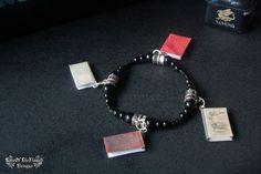 Book bracelet jewelry. Black beads bracelet jewelry - pinned by pin4etsy.com